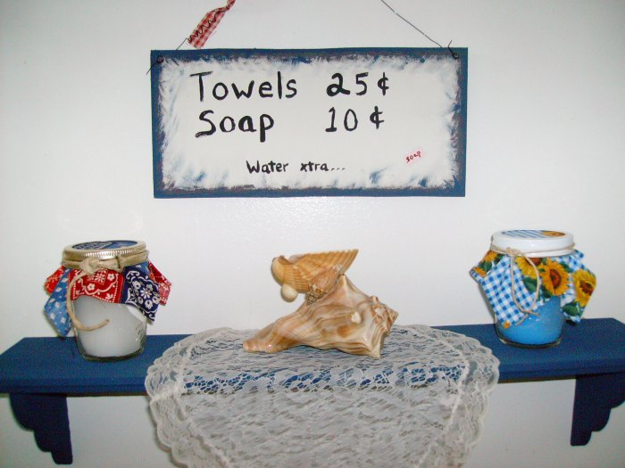 towels...soap...water xtra (8oz candles)