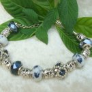 Blue and Silver Hand Beaded Bracelet