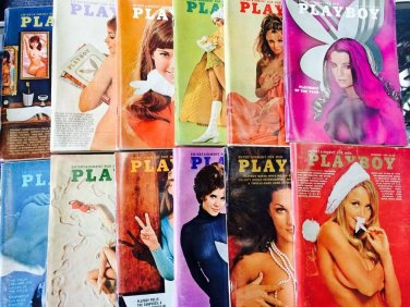 Playboy 1970 Full Year Complete Set w/ Centerfolds 1st Twin Centerfolds Debut