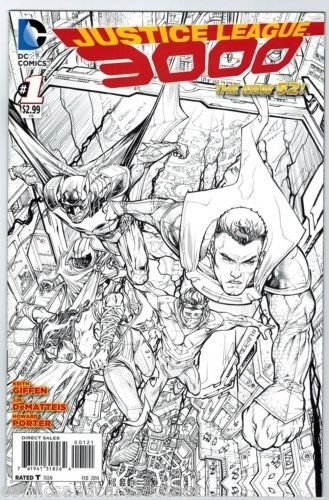 JUSTICE LEAGUE 3000 #1 NEW 52 1:50 Howard Porter Black and White Sketch Variant