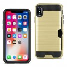 Reiko iPhone X Slim Armor Hybrid Case With Card Holder In Gold