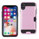 Reiko iPhone X Slim Armor Hybrid Case With Card Holder In Pink