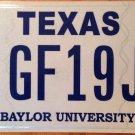 Texas Optional Baylor University license plate NCAA Bears Waco College Baptist