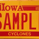 Iowa State University Cyclones license plate Sample ISU Clones Cy Cardinal Ames