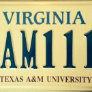 Texas A&M University license plate NCAA Basketball Aggies March Madness Reveille
