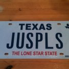 Texas vanity JUS PLS license plate Just Please Courtesy Polite Thank You Happy