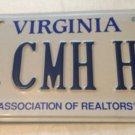 Virginia Realtor vanity CMH property HR license plate Realty house real estate