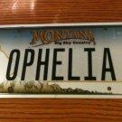 MT vanity OPHELIA license Plate Name Filia Ofilia Shakespeare Ofelia Phelia