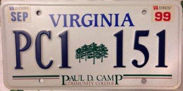 Very Rare Virginia Paul D Camp Community College License Plate Va