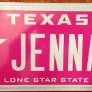 Texas vanity Lone Star JENNA License plate Jen Jennifer Jenny Cancer pink cure