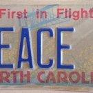 North Carolina vanity PEACE license Plate War Harmony Violence Conflict hostile