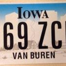 Iowa Van Buren county license plate Martin US President USA graphic USA #569 ZCM