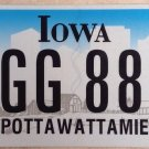 Iowa Triple Digit 8 License Plate Indian tribe #AGG 888 Eight Number
