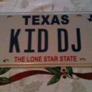 Texas vanity KID DJ license plate David John Daniel Dylan Doug Don music party