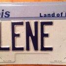Illinois vanity ILENE Eileen 7 license plate Ileene Illeen EIla Ilena Ilean