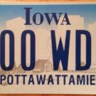 Iowa Triple Digit 0 License Plate Indian tribe #WDN 000 Zero repeating number