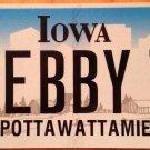 Iowa vanity DEBBY T license plate Deborah Deb Debb Debbi Debi Debbie Debbey Debe