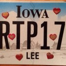 Iowa vanity HEART Pulse 172 Birth license plate Pregnancy Infant Baby Girl Born