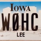 Iowa Ham Radio Operator W0HC License Plate Call Sign Hotel Charlie