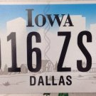 Iowa Dallas county license Plate Texas NFL Cowboys graphic oil cattle ranching