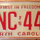 Vintage 1977 NORTH CAROLINA First In Freedom license plate NC #FNC 445 YOM 1975