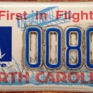 Rare North Carolina I Care For Animals license plate Pet Low Reserved Number 80