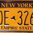 Gold Empire State license plate FDE 3268 Graphic USA NY City New York Manhattan