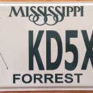 Amateur Radio license plate #KD5XG Operator Forrest county