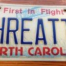 North Carolina vanity THREAT  License Plate Virus Bomb Computer Force Terrorism