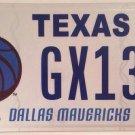 Texas DALLAS MAVERICKS license plate NBA National Basketball Association MAVS TX