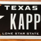 TX vanity KAPPY KAPPA HAPPY license plate Frat Greek Manga Isaac Sorority Gamma