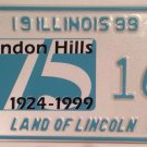 CLARENDON HILLS license plate Village #166 DuPage county Illinois Hinsdale Golf