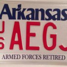 Arkansas AIR FORCE ARMED FORCES RETIRED license plate Airman Pilot Mitary Plane
