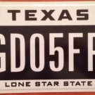 Texas Lone Star State optional license plate Map Star GD 05 FP