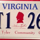 Virginia John Tyler Community College license plate Chester Midlothian JTCC VA