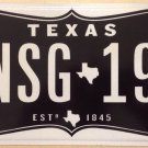 Texas Estimated 1845 optional vanity NSG 2019 license plate TX 19 Neurosurgeon