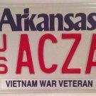 Arkansas AIR FORCE VIETNAM VETERAN license plate USAF Saigon War Pilot Plane Vet