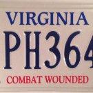Virginia COMBAT WOUNDED PURPLE HEART license plate Vietnam Iraq Afghanistan War