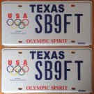 Set Of 2 Texas USA Olympics Los Angeles 2028 XXXIV Olympiad license plate Games