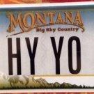 Montana vanity HY YO license plate Hello Hi Slang You Introduction Greet