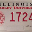 Illinois BRADLEY UNIVERSITY license plate Peoria Braves Kaboom Gargoyle Brave