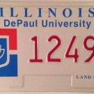 Illinois DEPAUL UNIVERSITY license plate Lincoln Park Chicago Blue Demons Demon