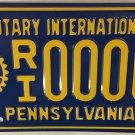 PA ROTARY INTERNATIONAL CLUB license plate Rotarian Evanston Service Above Self