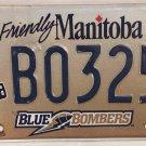 Manitoba WINNIPEG BLUE BOMBERS license plate Canada Football League Buzz Boomer