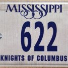 Knights Of Columbus license plate Fraternal In Service To One All KofC McGivney