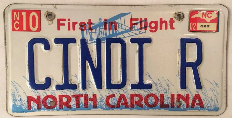 NC vanity CINDI CINDY R license plate Cinthya Lucinda Cindie Cyndy Cyndie Cindee