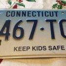 Rare Connecticut Optional KEEP KIDS SAFE license plate Child Children Kid