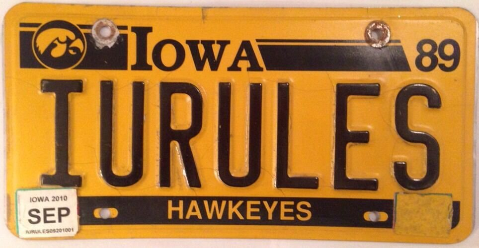 HAWKEYES vanity UNIVERSITY OF IOWA RULES license plate UI Herky Hawk NCAA