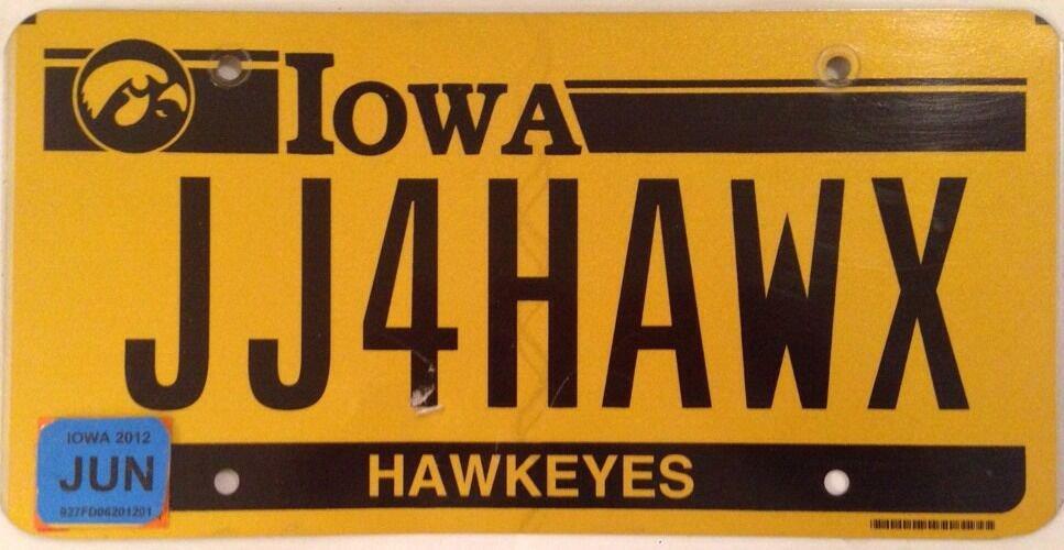 University of Iowa HAWKEYES vanity JJ FOR HAWKS license plate UI Herky Hawk NCAA
