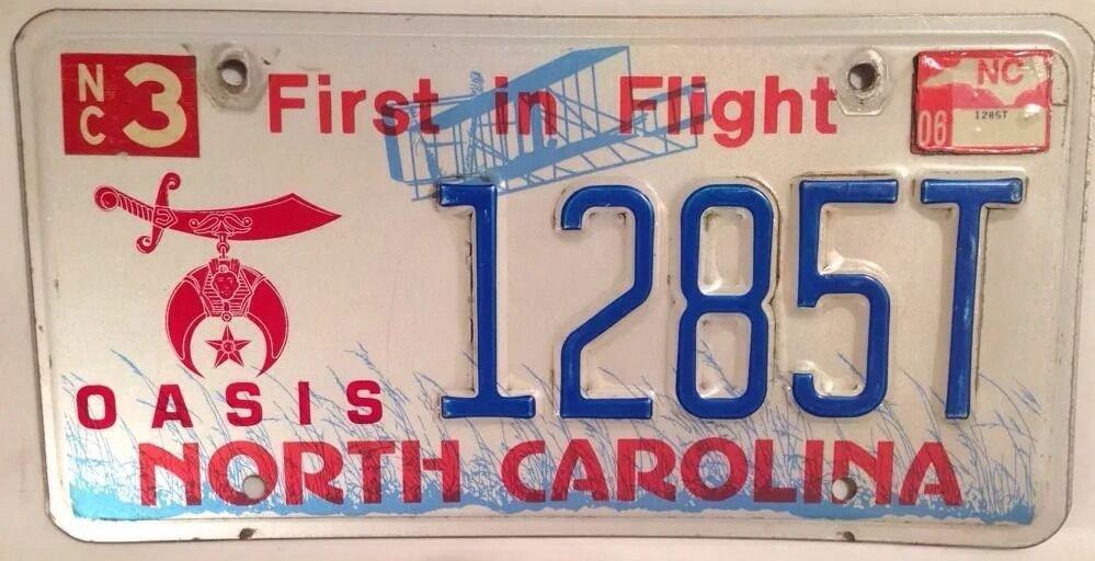 North Carolina OASIS SHRINERS FREE MASON license plate Shriner Lodge Masonry Fez